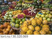 Купить «Fruits stall at the market hall Mercado dos Lavradores, Funchal, Madeira, Portugal, Europe.», фото № 30320069, снято 15 февраля 2019 г. (c) age Fotostock / Фотобанк Лори