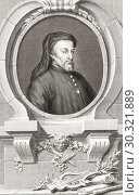 """Купить «Geoffrey Chaucer, c. â. ‰1343 â. """" 1400. English poet and author of The Canterbury Tales. From the 1813 edition of The Heads of Illustrious Persons of...», фото № 30321889, снято 1 февраля 2019 г. (c) age Fotostock / Фотобанк Лори"""
