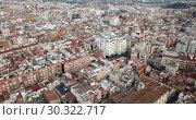 Купить «Panoramic aerial perspective of Reus cityscape, Tarragona, Catalonia», видеоролик № 30322717, снято 17 января 2019 г. (c) Яков Филимонов / Фотобанк Лори
