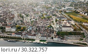 Купить «Image of aerial view with river of famous old town Auxerre in France», видеоролик № 30322757, снято 24 октября 2018 г. (c) Яков Филимонов / Фотобанк Лори