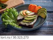 Купить «Fresh launch with sandwich with cottage cheese and avocado, salad, rosemary and lemon», фото № 30323273, снято 11 марта 2019 г. (c) Julia Shepeleva / Фотобанк Лори