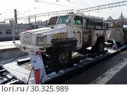 Купить «Захваченный у сирийских террористов многоцелевой бронированный автомобиль«RG-31» Nyala на платформе железнодорожного состава», фото № 30325989, снято 23 февраля 2019 г. (c) Free Wind / Фотобанк Лори