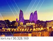 Купить «Night view of the Flame Towers. Flame Towers are new skyscrapers in Baku. The Republic of Azerbaijan», фото № 30328169, снято 22 сентября 2015 г. (c) Евгений Ткачёв / Фотобанк Лори