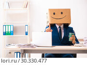 Купить «Happy man employee with box instead of his head», фото № 30330477, снято 23 июля 2018 г. (c) Elnur / Фотобанк Лори