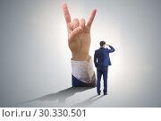 Купить «Hands showing victory sign in business concept», фото № 30330501, снято 19 марта 2019 г. (c) Elnur / Фотобанк Лори