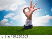 Купить «Hands showing ok gesture in business concept», фото № 30330505, снято 10 июля 2020 г. (c) Elnur / Фотобанк Лори