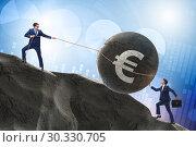 Купить «Trader trading in euro currency», фото № 30330705, снято 21 июля 2019 г. (c) Elnur / Фотобанк Лори