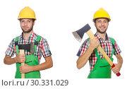 Купить «Industrial worker with hatchet isolated on white», фото № 30331029, снято 26 марта 2019 г. (c) Elnur / Фотобанк Лори