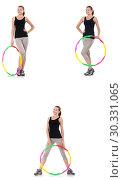 Купить «Young woman with hula hoop isolated on white», фото № 30331065, снято 26 марта 2019 г. (c) Elnur / Фотобанк Лори