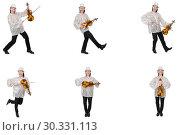Купить «Young man playing violin isolated on white», фото № 30331113, снято 19 марта 2019 г. (c) Elnur / Фотобанк Лори