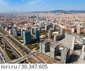 Купить «Aerial view of Diagonal Mar i el Front Maritim del Poblenou, Barcelona», фото № 30347605, снято 5 марта 2019 г. (c) Яков Филимонов / Фотобанк Лори