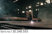 Купить «An Industrial Metal Cutting Machine Cuts Sheets Of Iron Into Various Parts», видеоролик № 30348593, снято 16 июля 2020 г. (c) Pavel Biryukov / Фотобанк Лори