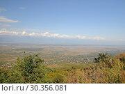 Купить «Грузия. Кахетия. Вид на алазанскую долину из города Сигнахи.», фото № 30356081, снято 28 сентября 2018 г. (c) Рябков Александр / Фотобанк Лори