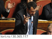 Купить «Deputy Prime Minister and Minister of Interior Matteo Salvini during the debate at the Senate on authorization to commit against him on the Diciotti ship case Rome, ITALY-20-03-2019.», фото № 30365117, снято 20 марта 2019 г. (c) age Fotostock / Фотобанк Лори