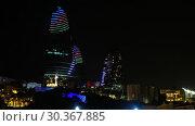 Купить «Night view of Baku Flame Towers, Azerbaijan», видеоролик № 30367885, снято 18 марта 2019 г. (c) Serg Zastavkin / Фотобанк Лори