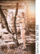 Купить «Woman taking bath in shower», фото № 30367993, снято 23 марта 2019 г. (c) Wavebreak Media / Фотобанк Лори