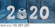 Купить «С новым годом. Цифры 2020 на синем фоне», фото № 30387281, снято 15 марта 2019 г. (c) Наталья Осипова / Фотобанк Лори