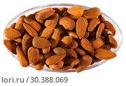 Купить «Image of roasted salt almonds on glass bowl, nobody», фото № 30388069, снято 17 июля 2019 г. (c) Яков Филимонов / Фотобанк Лори