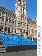 Купить «Площадь Гран-Плас в центре Брюсселя с трибуной для зрителей», фото № 30388689, снято 4 июля 2018 г. (c) V.Ivantsov / Фотобанк Лори