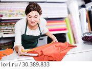 Купить «Seller measuring cloth», фото № 30389833, снято 4 января 2017 г. (c) Яков Филимонов / Фотобанк Лори