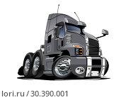 Купить «Cartoon semi truck isolated on white background», иллюстрация № 30390001 (c) Александр Володин / Фотобанк Лори
