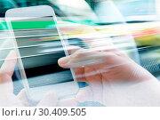 Купить «Using smart phone double exposure», фото № 30409505, снято 23 июля 2015 г. (c) easy Fotostock / Фотобанк Лори