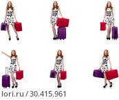 Купить «Beautiful woman in polka dot dress with suitcases isolated on wh», фото № 30415961, снято 22 апреля 2019 г. (c) Elnur / Фотобанк Лори