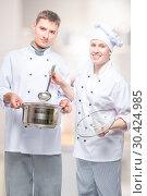 Купить «successful professional chefs with a pan and a ladle in a commercial kitchen posing», фото № 30424985, снято 14 октября 2018 г. (c) Константин Лабунский / Фотобанк Лори