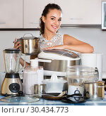 Housewife with kitchen appliances. Стоковое фото, фотограф Яков Филимонов / Фотобанк Лори