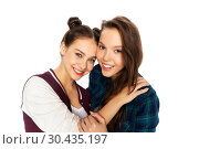 Купить «happy smiling pretty teenage girls hugging», фото № 30435197, снято 19 декабря 2015 г. (c) Syda Productions / Фотобанк Лори