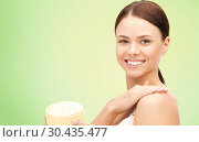 Купить «beautiful woman with moisturizing cream», фото № 30435477, снято 2 апреля 2011 г. (c) Syda Productions / Фотобанк Лори