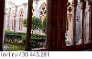 Купить «Gothic vaulted arcade with decorated ogival openings in cloister of Monastery of Santa Maria de Santes Creus, Aiguamurcia, Spain», видеоролик № 30443281, снято 11 февраля 2019 г. (c) Яков Филимонов / Фотобанк Лори