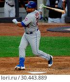 Купить «The New York Yankees take on the New York Mets during game 2 of the 2017 Subway Series at Yankee Stadium Featuring: Dominic Smith Where: Bronx, New York...», фото № 30443889, снято 15 августа 2017 г. (c) age Fotostock / Фотобанк Лори