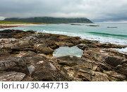 Купить «Ramberg beach summer cloudy view (Norway, Lofoten).», фото № 30447713, снято 12 июля 2013 г. (c) Юрий Брыкайло / Фотобанк Лори