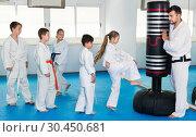 Купить «Children training karate kicks on punching bag during karate class», фото № 30450681, снято 25 марта 2017 г. (c) Яков Филимонов / Фотобанк Лори