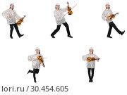 Купить «Young man playing violin isolated on white», фото № 30454605, снято 19 апреля 2019 г. (c) Elnur / Фотобанк Лори