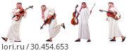 Купить «Arab man playing cello isolated on white», фото № 30454653, снято 8 июля 2020 г. (c) Elnur / Фотобанк Лори