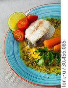 Купить «Hake with vegetable pate», фото № 30456085, снято 17 июля 2019 г. (c) Яков Филимонов / Фотобанк Лори