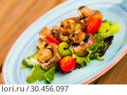 Купить «Baked mushrooms with greens and vegetables», фото № 30456097, снято 15 июня 2019 г. (c) Яков Филимонов / Фотобанк Лори