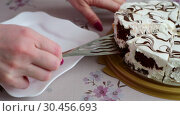 Female hand puts a piece of cake on a plate. Стоковое видео, видеограф Володина Ольга / Фотобанк Лори
