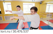 Two men training their aikido skills in the studio. Training their fistfights. Hitting the air with their fists. Стоковое видео, видеограф Константин Шишкин / Фотобанк Лори