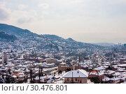 View from the high point to Sarajevo in the mist. Bosnia and Herzegovina (2018 год). Стоковое фото, фотограф Николай Коржов / Фотобанк Лори
