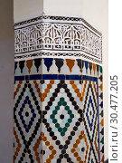Купить «Berber Arabesque Morcabe plasterwok Zellige tiles of the Marrakesh museum in the Dar Menebhi Palace, Marrakesh, Morocco.», фото № 30477205, снято 19 мая 2013 г. (c) age Fotostock / Фотобанк Лори