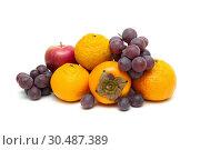 Купить «Juicy ripe fruit isolated on white background», фото № 30487389, снято 8 декабря 2012 г. (c) Ласточкин Евгений / Фотобанк Лори