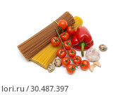 Купить «Vegetables, eggs and pasta on a white background», фото № 30487397, снято 15 ноября 2014 г. (c) Ласточкин Евгений / Фотобанк Лори