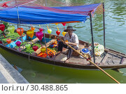 Купить «Vietnameses fisherman sitting in his fishing boat decorated with coloured lanterns, on the Son Thu Bon River, Hoi An, Quang Nam Provence, Vietnam, Asia.», фото № 30488865, снято 5 февраля 2019 г. (c) age Fotostock / Фотобанк Лори