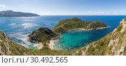 Купить «Panoramic view from a lookout over the Porto Timoni Double Bay, Afionas, Corfu, Greek Islands, Greece, Europe», фото № 30492565, снято 5 сентября 2018 г. (c) age Fotostock / Фотобанк Лори