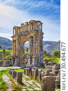 Купить «Algeria, Djemila City, Roman ruins of Djemila City, UNESCO, W. H. , Caracalla Arch, Djemilla Forum.», фото № 30494677, снято 8 марта 2019 г. (c) age Fotostock / Фотобанк Лори