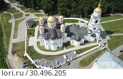 Купить «Aerial view of Assumption Cathedral in Vladimir - outstanding monument of white-stone architecture of Medieval Russia», видеоролик № 30496205, снято 29 июня 2018 г. (c) Яков Филимонов / Фотобанк Лори
