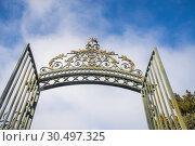 Купить «Open iron gate. San Ildefonso, Segovia province, Castilla Leon, Spain.», фото № 30497325, снято 13 января 2019 г. (c) age Fotostock / Фотобанк Лори